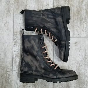 Zara lace up Leather Combat ankle Boots 6.5